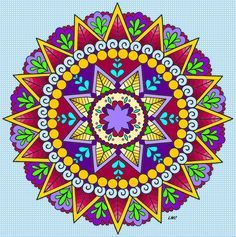 """See Mandala 674 for this coloring page on my other board """"Mandala Coloring Pages.""""  Creative Haven  SPARK Mandalas Coloring Book, Dover Publications"""