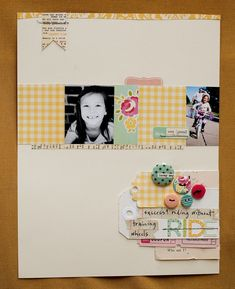 lower right corner - into card - mishmash of fun!; lettered flag and rough cut border strip on top