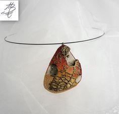 pendant with autumn colour, polymer clay jewelry by Martina Burianova, Marabu design, Czech Rebublic