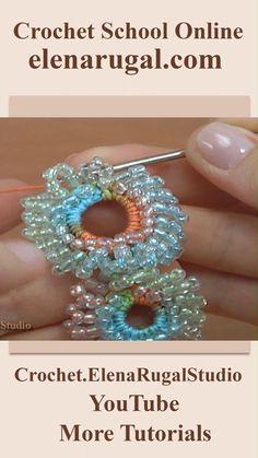 Crochet Earrings Pattern, Crochet Jewelry Patterns, Crochet Flower Patterns, Crochet Accessories, Crochet Flowers, Crochet Video, Crochet Cord, Crochet Bracelet, Thread Crochet