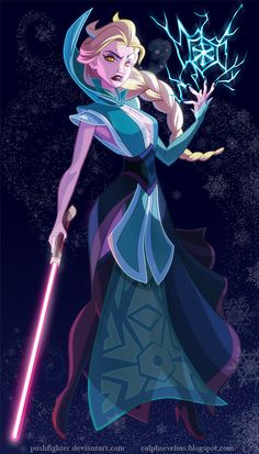 This artist reimagines Disney princesses as Star Wars characters. Here is Elsa as a Sith.