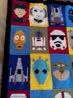 OMG! James would love this but I'm afraid it is beyond my skill level.  Star Wars Blanket!! Lots of pics - CROCHET