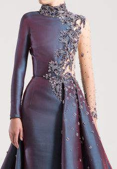 Blue Steel long high-neck fitted dress with long sleeves and an overskirt. Hijab Evening Dress, Evening Dresses, Hijab Dress, Elegant Dresses, Beautiful Dresses, Beautiful Models, Look Fashion, Fashion Outfits, Daily Fashion