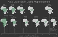 Chances are, most of the maps you look at use a Mercator projection. Or, to be more accurate, a slightly modified version called a Web Mercator projection. That's because every time you use your phone or computer to get directions, Google, or Bing, or Mapquest (gasp!) shows you this projection. That would be ok, because Mercator is a conformal projection, which means it preserves local angular relationships, making it great for viewing roads in your city. But Web Mercator isn't even conformal, so really it's not ideal for anything! Oh well…as long as you get to your destination, I suppose it doesn't really matter. The purpose of this graphic is to illustrate that, while Mercator has become the default perception of the world for many, it creates a severely distorted view because it grossly exaggerates areas near the poles, as can be seen using Tissot's indicatrix. If you aren't familiar with this tool, read this article. So while Mercator is great for local viewing, it's painful to look at on a global scale. When selecting a projection, it's important to consider how the map is going to be used. Are you going to be measuring distances? Angles? Areas? If so, choose a projection that preserves the quality of interest. For comparing the area of Greenland to Africa, we need to use equal-area projections like sinusoidal or Mollweide. If you use Mercator, you'll make the mistake of thinking that Africa is slightly smaller than Greenland; the Africa to Greenland area ratio is 0.9 in a Mercator projection, as opposed to its true ratio of 13.9. If you are making a global thematic map that just needs to look pretty, find a projection that suits you. Just make sure it isn't Mercator.Data source: http://resources.arcgis.com/en/help/main/10.1/index.html#/List_of_supported_map_projections/003r00000017000000/Inspiration: https://xkcd.com/977/http://www.pratham.name/mercator-projection-africa-vs-greenland.html (Note that many other sites have compared the areas of Greenland to Afri
