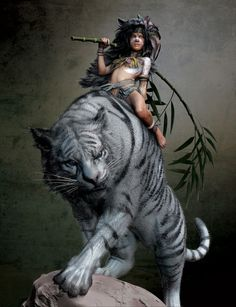 fantasy tigers | ... Picture (3d, fantasy, character, amazon, girl, woman, tiger, rider: