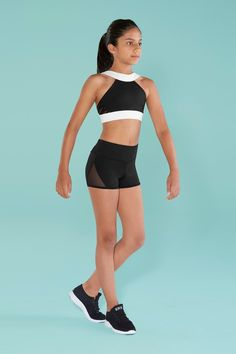 3ef159994d609 Pampo s Dancewear. Kids High Neck Crop Top with Side Mesh ...