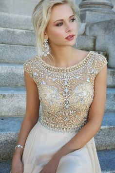 So Crystal Beading Evening Dresses Cap Sleeves Chiffon Floor Length Evening Gowns For ME! Homecoming,Celebrity Dresses,Open Back Prom Dresses,Champagne evening dresses Elegant Prom Dresses, Prom Dresses With Sleeves, Homecoming Dresses, Pretty Dresses, Beautiful Dresses, Bridesmaid Dresses, Formal Dresses, Dress Prom, Gorgeous Dress