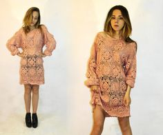 Vintage crochet sweater / Peach knit pattern / by GiKooVintage