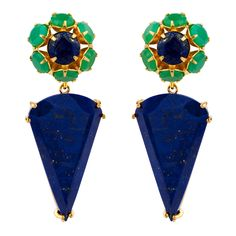 Chrysoprase & Lapis Converible Earrings - Bounkit Jewelry