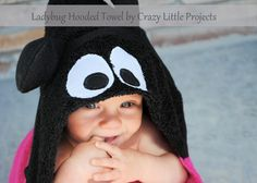 ~~pinned from site directly~~ . . .  Use this ladybug hooded towel pattern and tutorial to make a hooded towel for baby or toddlers or kids. Large and comfortable and makes a great baby gift.