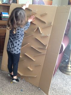 DIY marble run made with cardboard box= hours of free fun entertainment!