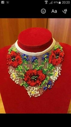 Vibrant multistrand seed bead necklace with glossy accents and matching earrings. Beaded Necklace Patterns, Beaded Choker Necklace, Seed Bead Necklace, Seed Bead Jewelry, Bead Jewellery, Beaded Jewelry, Fashion Jewellery, Bead Embroidery Jewelry, Beaded Embroidery