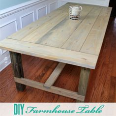 DIY Farmhouse Table - replacing my ikea Liatorp table. She's seen better days.