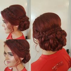 Grad, debs low upstyle with a plait on long red hair Long Red Hair, Plait, Crochet Necklace, Stylists, Dreadlocks, Hair Styles, Beauty, Fashion, Hair Plait Styles