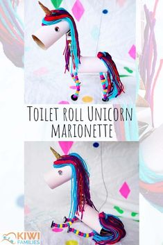 Toilet roll Unicorn marionette pin page Recycled Crafts Kids, Recycled Art Projects, Fun Crafts For Kids, Projects For Kids, Diy For Kids, Craft Projects, Recycled Materials, 5 Year Old Crafts, Activities For 5 Year Olds