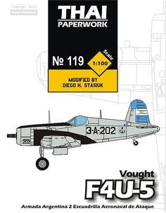 This aircraft paper model is a Armada Argentina (Argentine Navy) version ChanceVoughtF4U-5 Corsair, a variant of the Chance Vought F4U Corsair, the paper