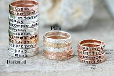 These simple bands are made entirely from scratch by me, so they have a rustic, organic look to them! Each ring is beautiful and one-of-a-kind!  I