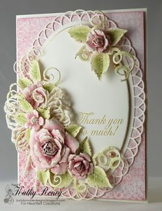 Joyfully Made Designs by Kathy Roney using Heartfelt Creations' Classic Rose Collection of stamps, dies and designer paper