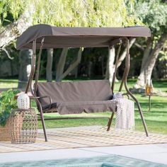 NEW Outdoor Garden 2 Person Adjustable Tilt Canopy Metal Swing with Side Tables #OutdoorSwing