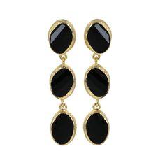 Onyx Earrings Three Black Stone Turkish Jewelry by BeMeJewellery, $39.99