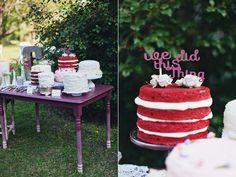 red velvet cakes - photo by Flora and Fauna http://ruffledblog.com/abandoned-greenhouse-wedding