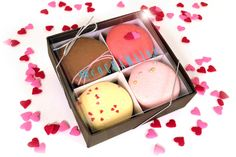 #Cocoamains #Valentine gift box flavors: Passion Fruit, Hot Kiss, Champagne Rose, Choc. Strawberry #macarons at Macy's NYC!
