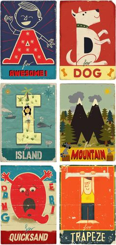 Oooh. Vintage-y ABC cards. PRINTABLE! Fun for funky nursery idea
