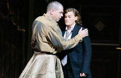 Vesselina Kasarova as Sesto and Michael Schade as Tito in La Clemenza di Tito, Salzburg 2006. Men in skirts, women in suits, ah opera has it all!