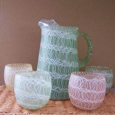 Vintage Spaghetti String Pitcher & Glasses by HazelLily on Etsy,