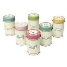 Set Of 6 Pantry Spice Tins