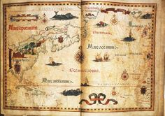 Portolano of the east coast of North America. Diogo Homem, (London, 1558)  69.5 x 97 cm, manuscript on vellum. From an untitled atlas.