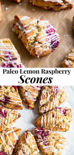 These raspberry lemon scones are perfectly flaky, with rich buttery flavor and are packed with lemon and sweet juicy raspberries.  The lemon icing makes them out of this world delicious! The perfect healthier brunch treat, these scones are paleo, dairy free, gluten free and irresistible! #paleo #glutenfree #scones #paleobaking #healthybaking Paleo Sweets, Paleo Dessert, Gluten Free Desserts, Dairy Free Recipes, Paleo Recipes, Raspberry Recipes Paleo, Shrimp Recipes, Paleo Baking, Gluten Free Baking