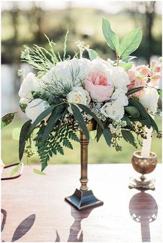 Brass Candle Stick Centerpiece | Little Miss Lovely Floral Design | Leah Adkins Photography | see more at http://fabyoubliss.com