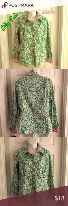 "Presh LILLY PULITZER Cotton Button-Down Shirt 💚💕 Size 10 Lilly Pulitzer 100% cotton button-down blouse. Beautiful green, pink and whate pattern. Adorable detailing. Excellent condition - no flaws to note. Pit-to-pit measurement is 21"". Lilly Pulitzer Tops Button Down Shirts"