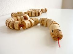 a snake made form cork #diy #kids #recycled