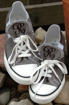 Monogrammed Converse ~I need to find a pair and fire up the embroidery machine!