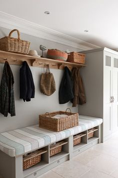 hallway storage or bootroom storage solution with comfy bench, coat hooks and storage cupboard custom built by mowlem & co .with these boot room ideas Boot Room Utility, Utility Room Ideas, Cupboard Storage, Boot Room Storage, Hallway Storage Bench, Entryway Bench, Storage Baskets, Coat Hooks Hallway, Coat And Shoe Storage