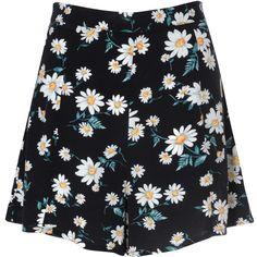 Black Daisy Print Shorts ($28) ❤ liked on Polyvore