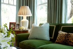 Emerald Green Velvet Sofa, pleated shade, color combo, etc.
