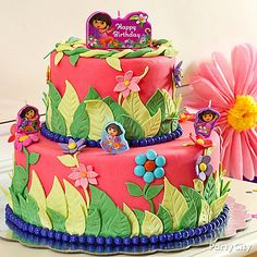 How to make this amazing rainforest-inspired Dora the Explorer fondant cake featured in our Dora party ideas guide.