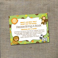 Jungle Safari Baby Shower Theme Please Bring A by WorldOfThought