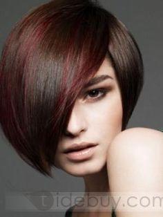2012新しいスタイルカラーユニーク100%人毛ショートストレート高品質ウィッグ