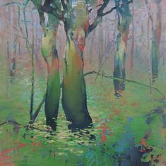 """Winter Fog in the Forest"" by Randall David Tipton. He does beautiful oil and water media paintings. It's rare to find someone who has a sense of the character of nature. There's a personality, a wonderful idiosyncratic and gestural quality to his trees. His colors are also gorgeous and fluid. Also, I love that he works small. Everyone in my program was pushed to work on a huge scale, but this piece, 24x24, is powerful without being overwhelming.  His website…"