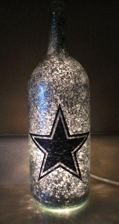 Wine Bottle Corks, Lighted Wine Bottles, Diy Bottle, Bottle Lights, Wine Bottle Crafts, Bottle Lamps, Liquor Bottles, Glass Bottle, Dallas Cowboys Crafts