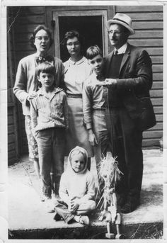 James Reaney and family in 1965 in Leith, Ontario. Standing left to right  are the adults: Colleen Reaney, Wilma McCaig (Jamie's sister), and James  Reaney.