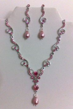 Pink Tiffany Jewelry | Pink Bridal Jewelry Set, Pearl Necklace and Earrings - PINK FIGURIA ...