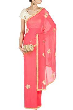 Coral embroidered sari BY ANUSHKA KHANNA, Shop now at perniaspopupshop.com #perniaspopupshop #clothes #womensfashion #love #indiandesigner #anushkakhanna #happyshopping #sexy #chic #fabulous #PerniasPopUpShop