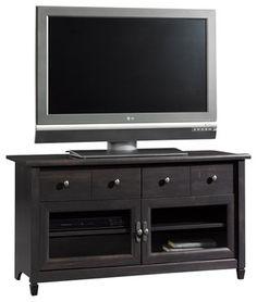 Sauder Edge Water Panel TV Stand in Estate Black transitional-media-storage