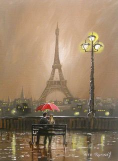 Pete Rumney Art Original Canvas Painting Together In Paris Eiffel Tower Umbrella Eiffel Tower Drawing, Eiffel Tower Painting, Eiffel Tower Art, Eiffel Tower Photography, Eiffel Tower Pictures, Eiffel Tower Centerpiece, London Painting, Umbrella Art, Watercolor Projects