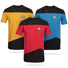 Dress like your favorite Enterprise-D crew member! The Star Trek: The Next Generation uniform t-shirts are constructed just for this purpose, the high quality Picard would demand from his crew. Pips and sparkly comm badges are screen-printed on.